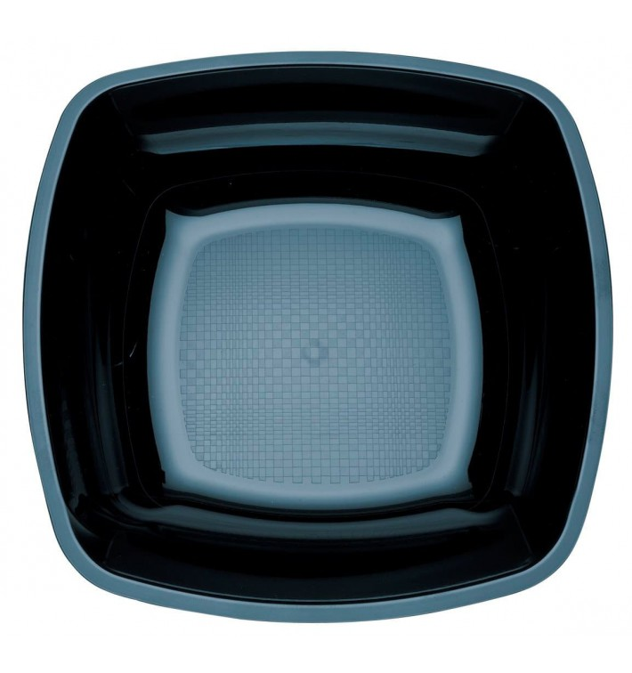 Assiette Plastique Réutilisable Creuse Noir PS 180mm (25 Utés)