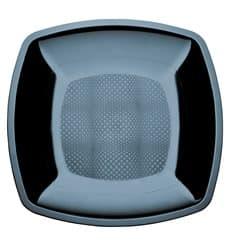 Assiette Plastique Plate Noir Square PS 230mm (25 Utés)