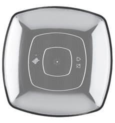 Assiette Plastique Réutilisable Plate Transp.  PS 230mm (25 Utés)