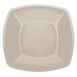Assiette Plastique Plate Beige Square PP 180mm (25 Utés)