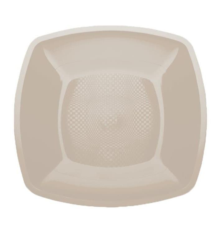 Assiette Plastique Réutilisable Plate Beige PP 230mm (25 Utés)