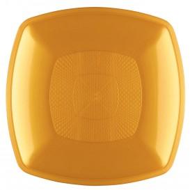 Assiette Plastique Réutilisable Creuse Or PP 180mm (12 Utés)