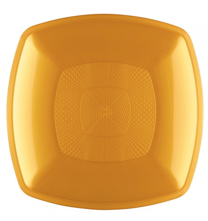 Assiette Plastique Réutilisable Plate Or PP 230mm (12 Utés)