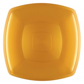 Assiette Plastique Plate Or Square PS 300mm (12 Utés)