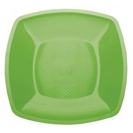 Assiette Plastique Plate Vert citron Square PP 180mm (25 Utés)