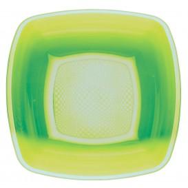 Assiette Plastique Creuse vert citron Square PP 180mm (300 Utés)