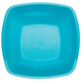 Assiette Plastique Creuse Turquoise Square PP 180mm (25 Utés)