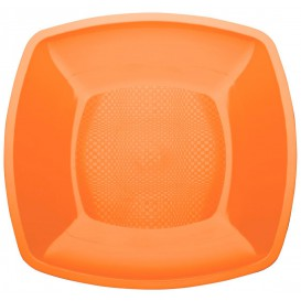 Assiette Plastique Plate Orange Square PP 230mm (25 Utés)