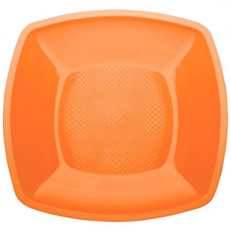 Assiette Plastique Plate Orange 230mm (25 Utés)