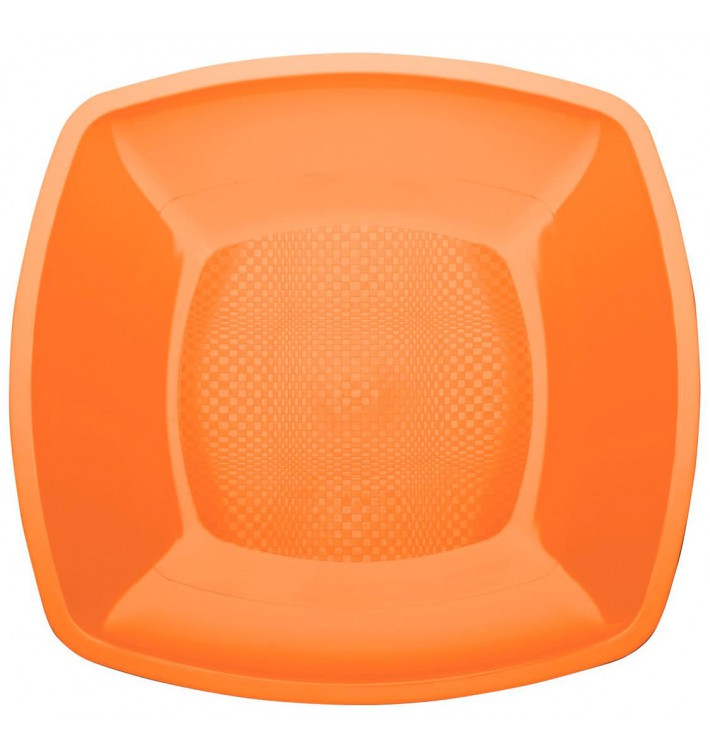 Assiette Plastique Plate Orange Square PP 230mm (300 Utés)