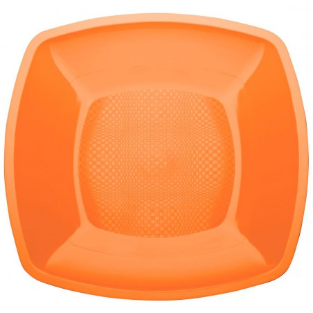 Assiette Plastique Plate Orange Square PP 230mm (150 Utés)