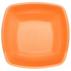 Assiette Plastique Creuse Orange Square PP 180mm (25 Utés)