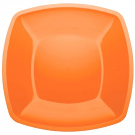 Assiette Plastique Plate Orange Square PS 300mm (12 Utés)