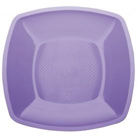 Assiette Plastique Plate Lilas Square PP 180mm (25 Utés)