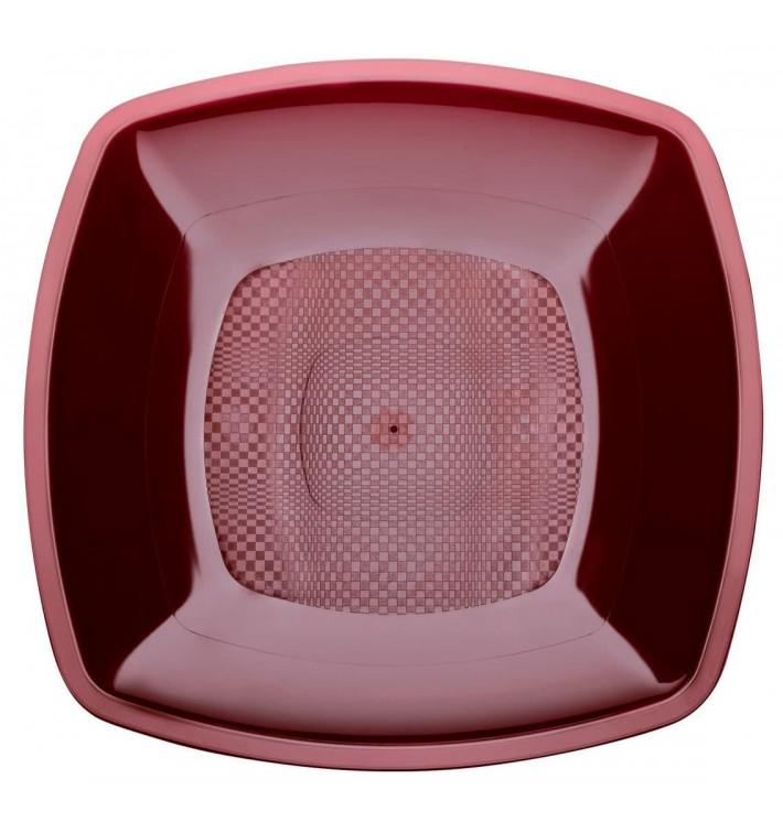 Assiette Plastique Réutilisable Plate Bordeaux PP 180mm (300 Utés)