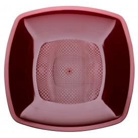 Assiette Plastique Réutilisable Bordeaux PP 230mm (300 Utés)