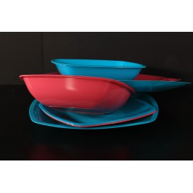 Assiette Plastique Réutilisable Creuse Rouge Transp. PS 180mm (25 Utés)