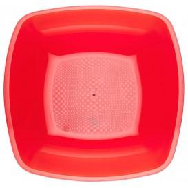 Assiette Plastique Réutilisable Creuse Rouge Transp. PS 180mm (300 Utés)