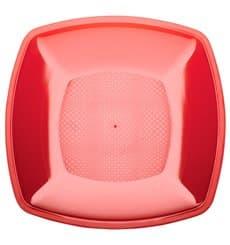 Assiette Plastique Plate Rouge Transp. Square PS 230mm (300 Utés)