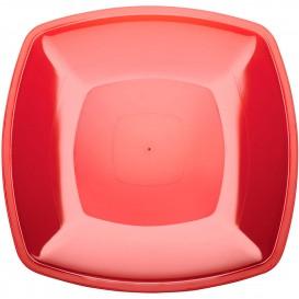 Assiette Plastique Réutilisable Plate Rouge Transp. PS 300mm (12 Utés)