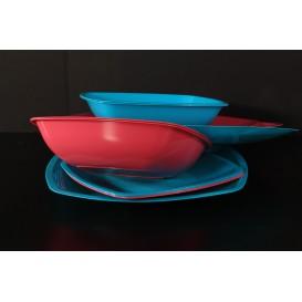 Assiette Plastique Réutilisable Creuse Bleu Transp. PS 180mm (300 Utés)