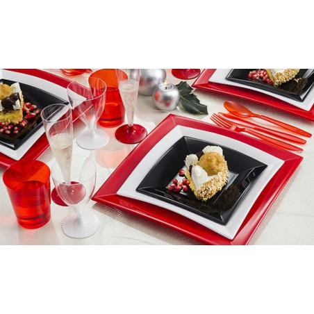 Assiette Plastique Plate Noir Nice PP 180mm (25 Utés)