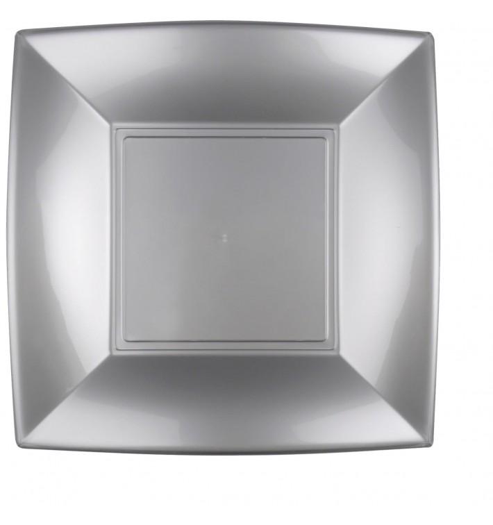 Assiette Plastique Réutilisable Plate Gris PP 290mm (12 Utés)