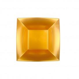 Assiette Plastique Réutilisable Creuse Doré PP 180mm (12 Utés)
