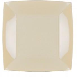 Assiette Plastique Plate Carrée Argent 290mm (12 Utés)