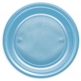 Assiette Plastique PS Creuse Turquoise Ø220mm (30 Unités)