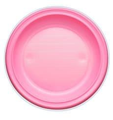 Assiette Plastique PS Plate Rose Ø220mm (30 Unités)