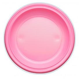Assiette Plastique Fond Rose PS 220mm (600 Unités)