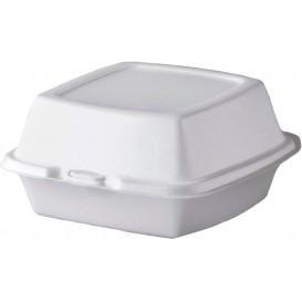 Boîte à HAMBURGER FOAM Blanc 150x150x80mm (125 Unités)