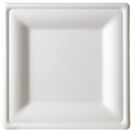 Assiette Carrée Canne à Sucre Blanc 200x200mm (50 Utés)