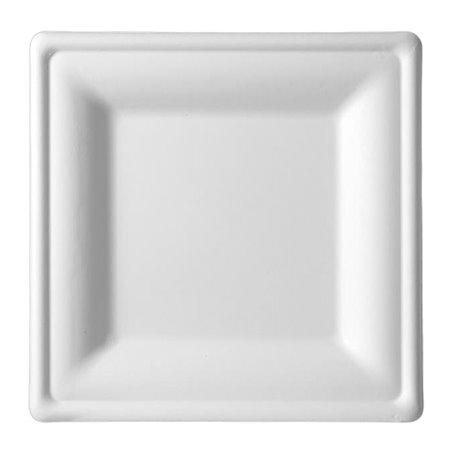 Assiette Carrée Bio Canne à Sucre Blanc 200x200mm (50 Utés)
