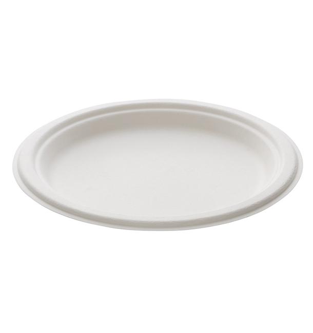 Assiette Bio en Canne à Sucre Blanc Ø230mm (50 Unités)