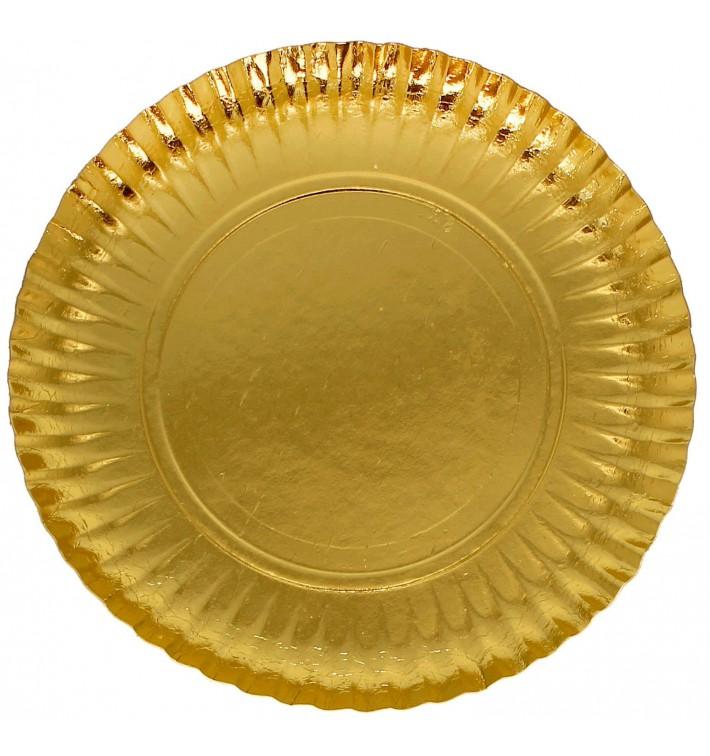Assiette en Carton Ronde Doré 230 mm (500 Unités)