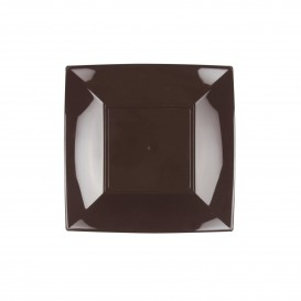 Assiette Plastique Plate Marron Nice PP 180mm (25 Utés)