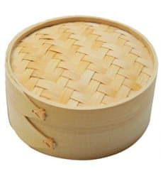 Panier Vapeur en Bambou avec Couvercle Ø8x6cm (10 Utés)