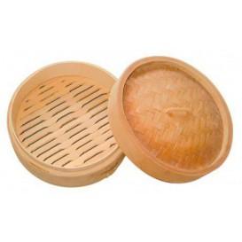 Récipient et couvercle en Bambou Dim Sun Ø8x6cm (10 Unités)