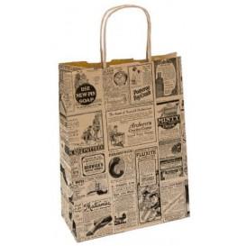 Sac Papier Kraft Naturel Times et Anses 20+10x29 cm (250 Utés)