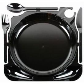 Set Assiette et Couverts Caterplate Noir (12 Unités)