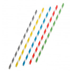 Paille Flexible Papier Assortiment Ø6mm 230mm (6000 Utés)