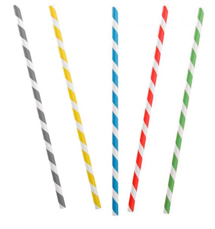 Paille Flexible Papier Assortiment Ø6mm 230mm (250 Utés)