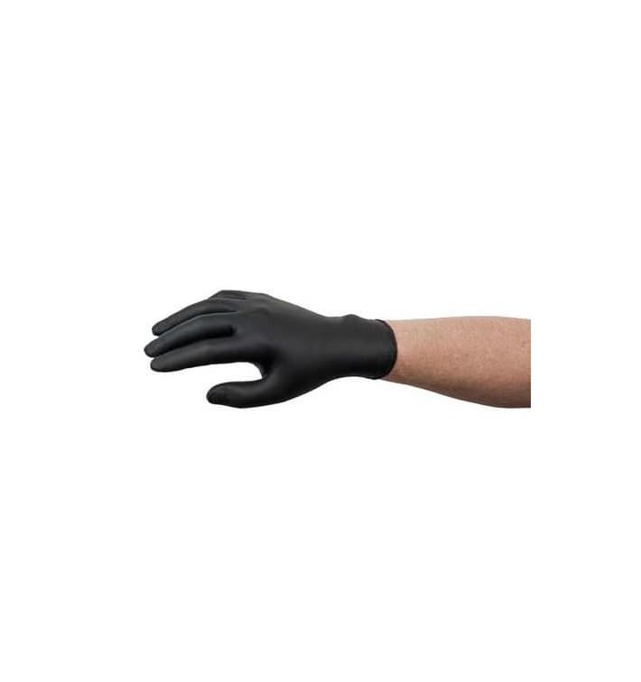 Gants Nitrile sans Poudre Noir Taille L AQL 1.5 (1000 Utés)