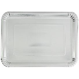 Plat rectangulaire en Carton Argenté 18x24cm (100 Unités)