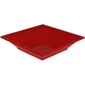 Assiette Plastique Creuse Carrée Rouge 170mm (5 Unités)