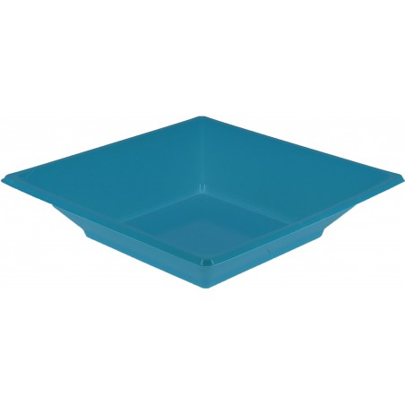 Assiette Plastique Creuse Carrée Turquoise170mm (25 Unités)