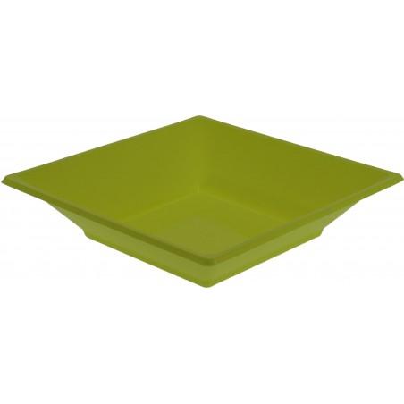 Assiette Plastique Creuse Carrée Pistache 170mm (25 Unités)