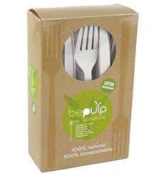 Fourchette Biodegradable CPLA Blanc 160mm en boîte (500 Utés)